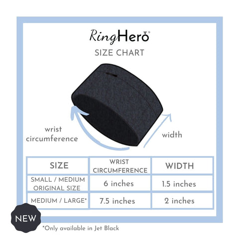 RingHero size chart protect your ring wristband