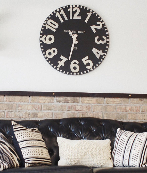 Black and White Wooden Wall Clock-Farmhouse Living - Farmhouse Decor