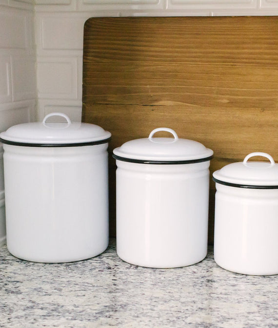 Enamelware Canister Set of 4-Farmhouse Living - Farmhouse Decor