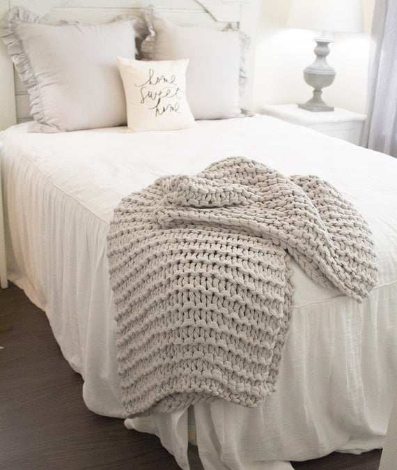 Finn Throw in Stone Grey-Farmhouse Living - Farmhouse Decor