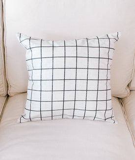 French Linen Grid Pillow-Farmhouse Living - Farmhouse Decor