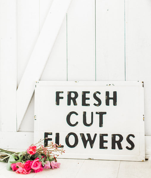 Fresh Cut Flowers Metal Embossed Sign-Farmhouse Living - Farmhouse Decor