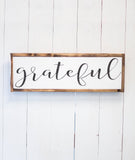 """Grateful"" Lettered Sign-Farmhouse Living - Farmhouse Decor"