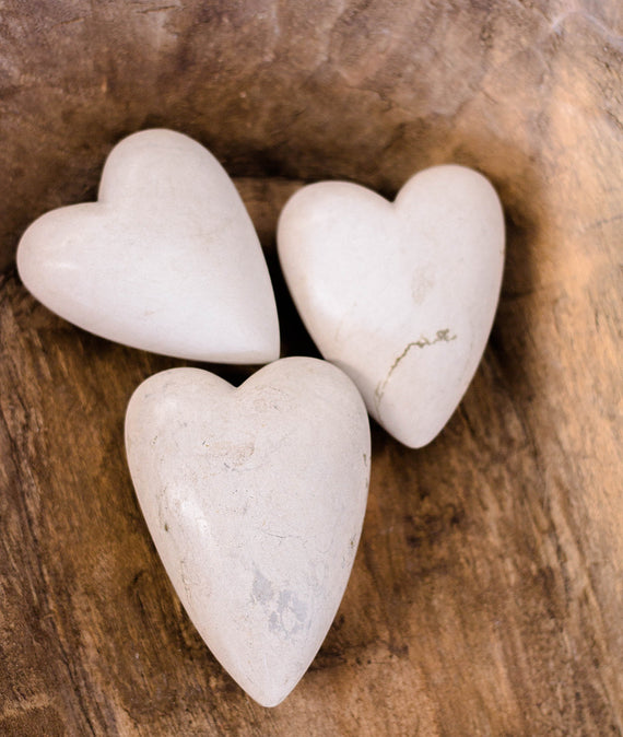 Hand Carved Stone Hearts-Farmhouse Living - Farmhouse Decor