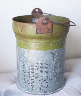 Iron Military Canister Bucket with Handle-Farmhouse Living - Farmhouse Decor