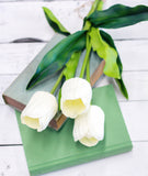 Large White Real Touch Tulips-Farmhouse Living - Farmhouse Decor