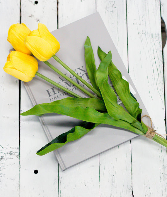 Large Yellow Real Touch Tulips-Farmhouse Living - Farmhouse Decor