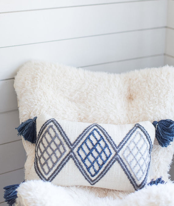 Magnolia Home Blue & Ivory Pillow-Farmhouse Living - Farmhouse Decor
