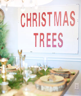 Metal Embossed Christmas Tree Sign-Farmhouse Living - Farmhouse Decor