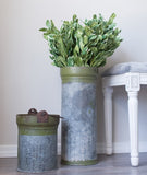 Recycled Metal Canister Vase-Farmhouse Living - Farmhouse Decor