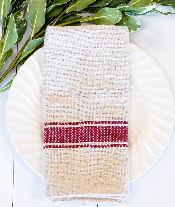 Red and Cream Cotton Utility Towel-Farmhouse Living - Farmhouse Decor