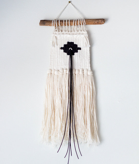Small Black and White Woven Wall Hanging-Farmhouse Living - Farmhouse Decor