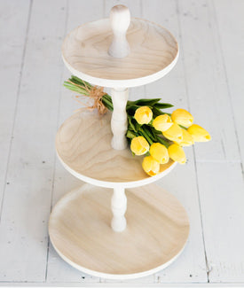 Three Tiered Wooden Display Stand-Farmhouse Living - Farmhouse Decor