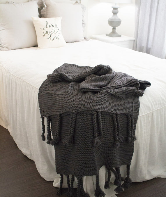 Trestles Oversized Throw in Midnight-Farmhouse Living - Farmhouse Decor