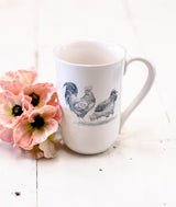 White Ceramic Farmhouse Animal Mug - Chicken-Farmhouse Living - Farmhouse Decor