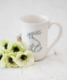 White Ceramic Farmhouse Animal Mug - Rabbit-Farmhouse Living - Farmhouse Decor