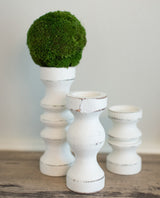 White Hand Crafted Candlesticks-Farmhouse Living - Farmhouse Decor