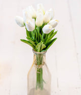 White Real Touch Tulips - Long Stem-Farmhouse Living - Farmhouse Decor