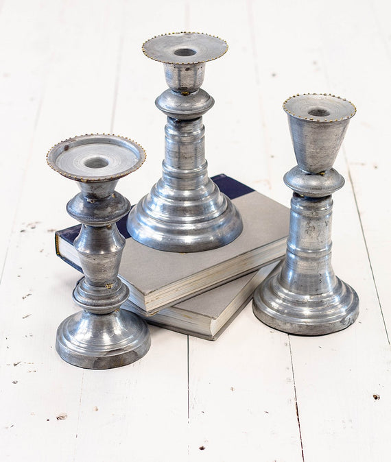 Zinc Candlesticks-Farmhouse Living - Farmhouse Decor