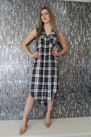 Cami Plaid Navy Shirt Dress by Cupcakes & Cashmere Front View