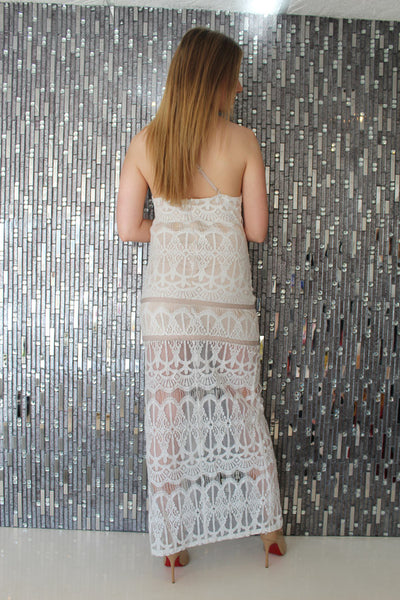 Cassia White Lace Dress by JustMe Back View