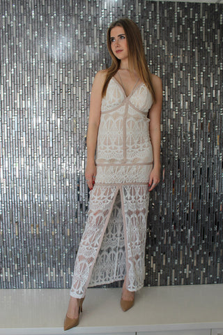 Cassia White Lace Dress by JustMe Front View