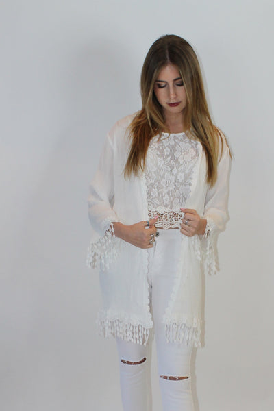 Boho Chic White cardigan