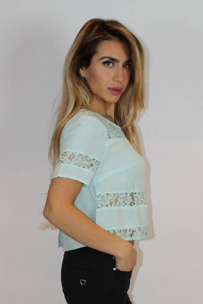 Gloria Mint Laced Panel Top