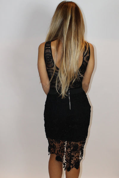 Cecilia Lace High Low Black Skirt