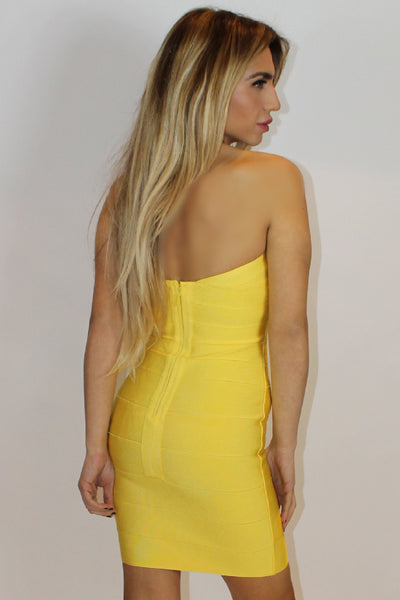 Letizia Yellow Bandeau Bandage Dress