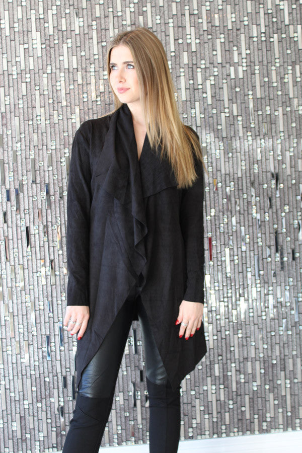 Kya Black Suede Jacket by AQAQ Front View