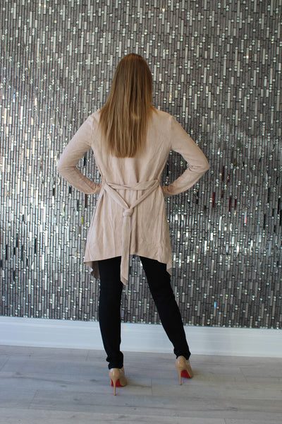 Kya Nude Suede Jacket by AQAQ Back View