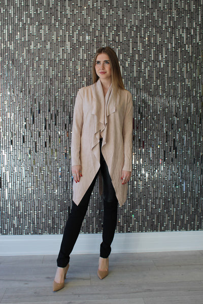 Kya Nude Suede Jacket by AQAQ Front View