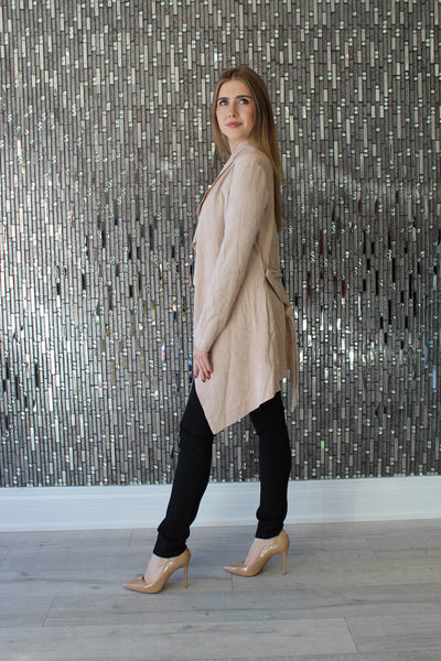 Kya Nude Suede Jacket by AQAQ Side View