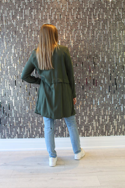 Cupcakes & Cashmere Army Green Jacket Back View