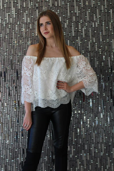 Tia Off The Shoulder White Lace Top by Cupcakes & Cashmere Front View