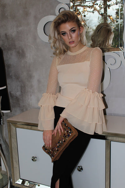 Nude Mesh & Ruffle Sleeve Top