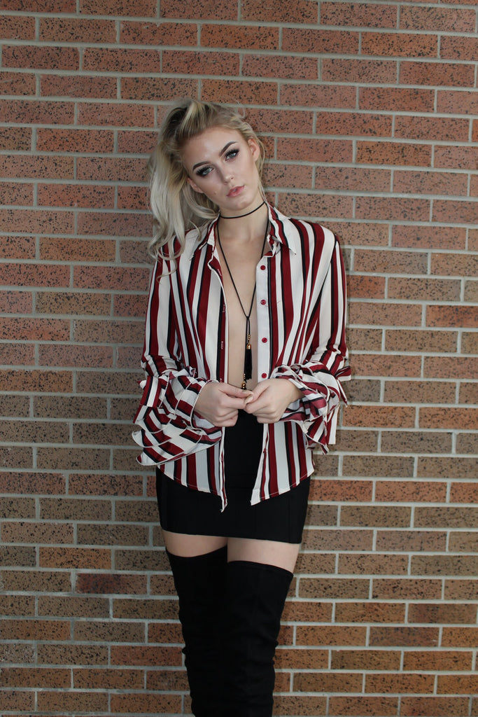 Julianna red and black stripe top