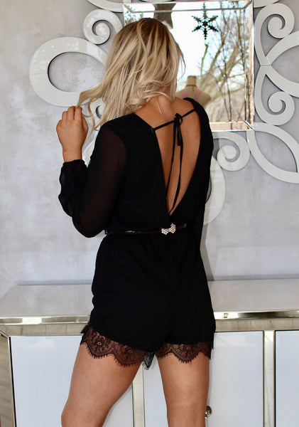 Louis Black Lace Romper