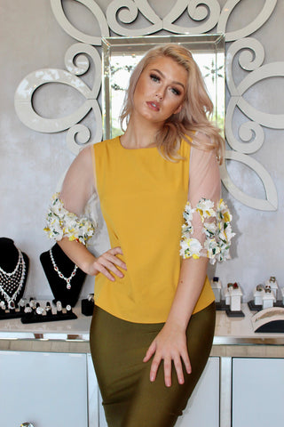 Mustard Floral Sleeve Top