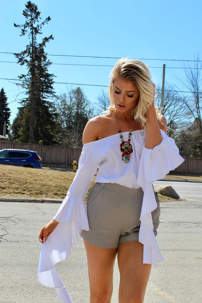 Bailey White Off The Shoulder Ruffle Sleeve Top