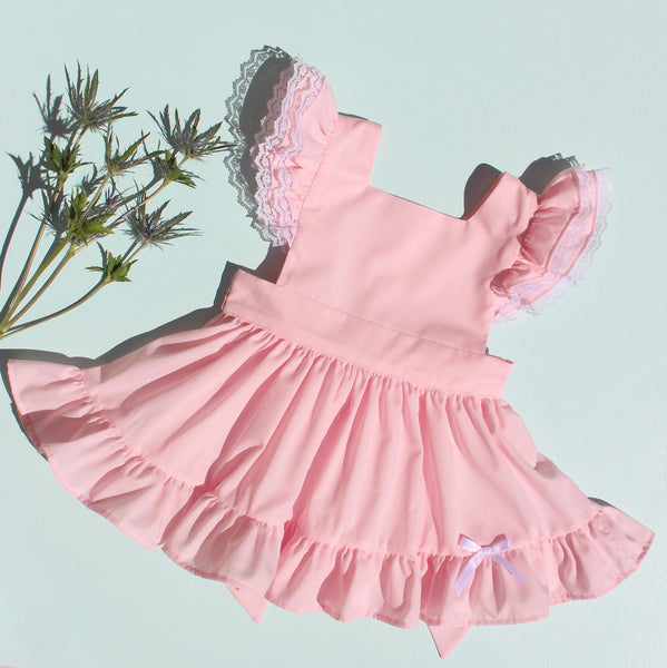 "Baby Pink Batiste ""Fern"" Pinafore with Bloomers"