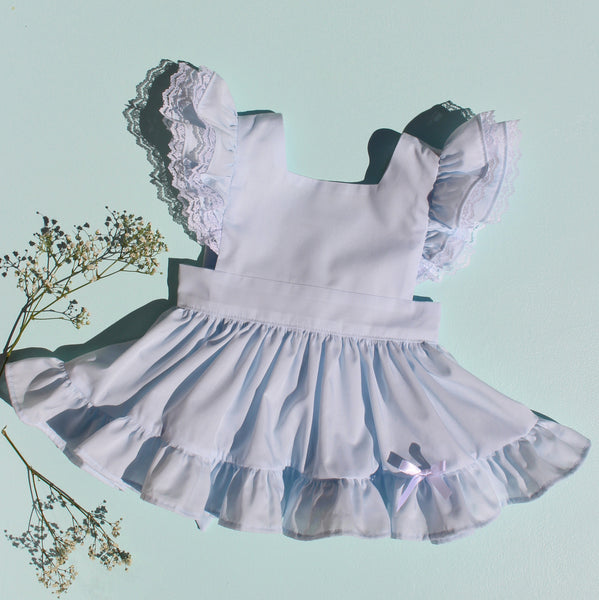"Baby Blue Batiste ""Fern"" Pinafore with Bloomers"