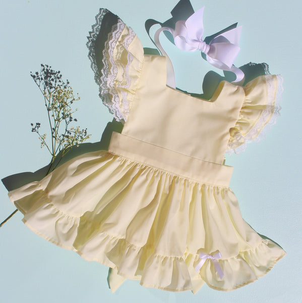 "Lemon Meringue Batiste ""Fern"" Pinafore with Bloomers"