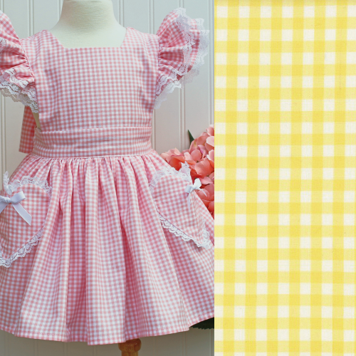 Stella Gingham Pinafore Dress in Yellow