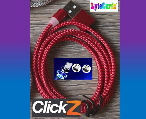 LYTECORDZ CLICKZ - Magnetic Snap Quick Release Charging Cord - All Phones Types