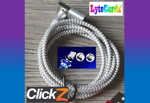 Image of LYTECORDZ CLICKZ - Magnetic Snap Quick Release Charging Cord - All Phones Types