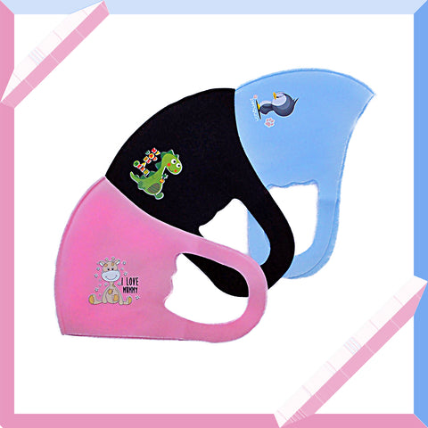 Image of Children's Light Weight Nylon Protective  Face Masks with Animal Design