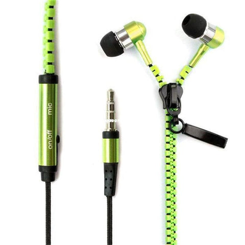 Zipper Metallic No Tangle Earphone Earbuds Headphones with Mic