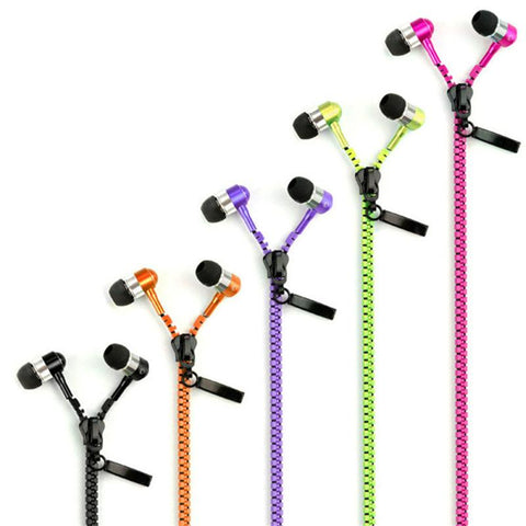 Image of Zipper Metallic No Tangle Earphone Earbuds Headphones with Mic